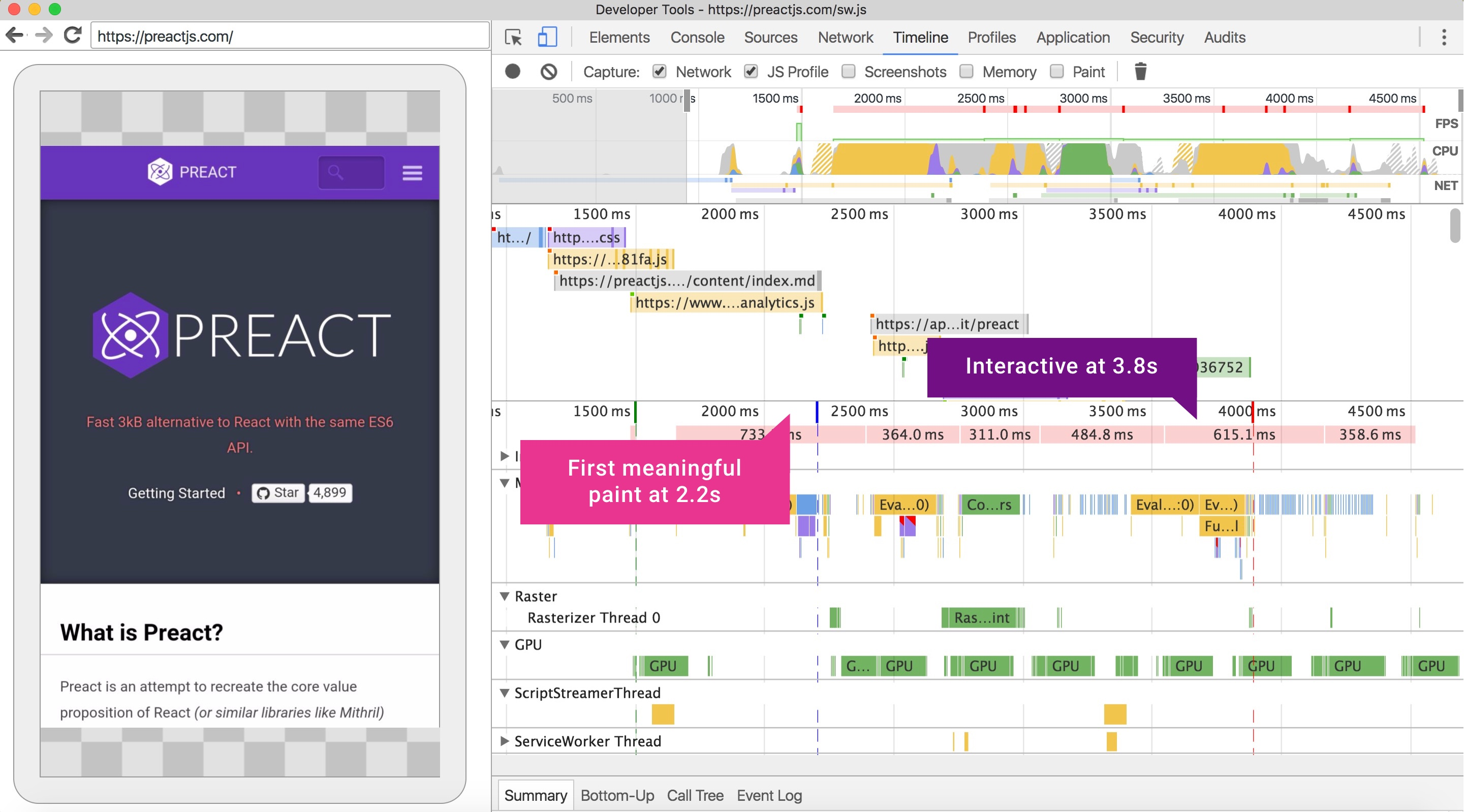A DevTools Timeline trace of the preactjs.com site on a Nexus 5X